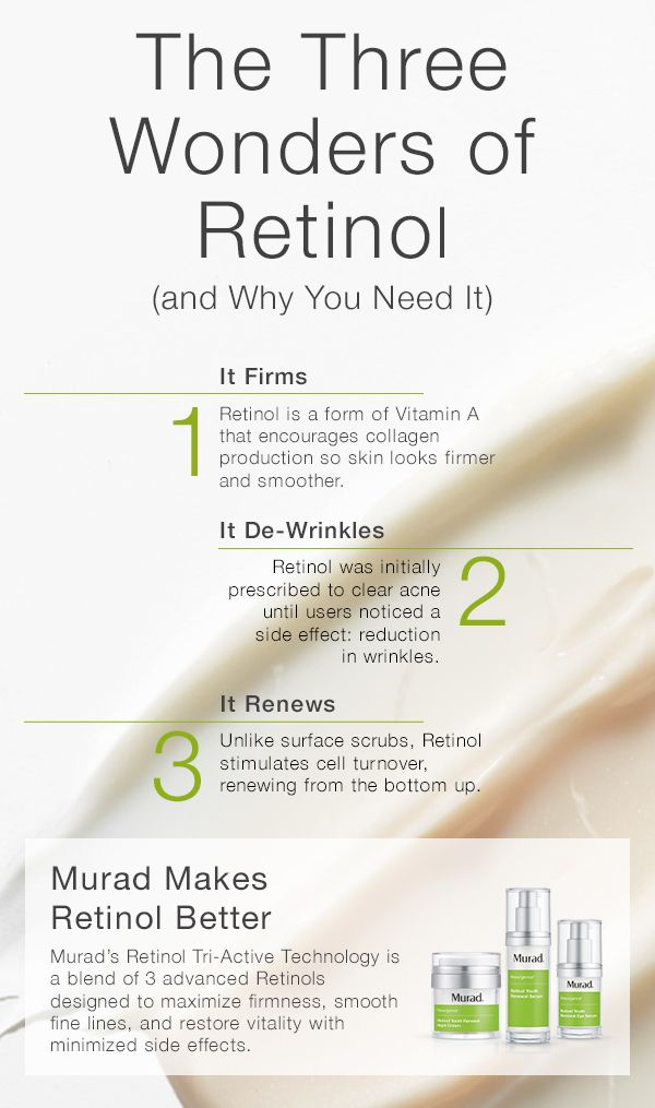 Think your skin's too sensitive for Retinol? Murad took the benefits of Retinol and made them better with Retinol Tri-Active Technology—found in Retinol Youth Renewal Serum, Eye Serum, and Night Cream. A fast-acting Retinoid, a time-released Retinol and a Retinol booster deliver the skin smoothing and rejuvenating benefits of Retinol immediately and over time while being gentle on skin. Use together to reduce fine lines and wrinkles while enhancing firmness and smoothness.