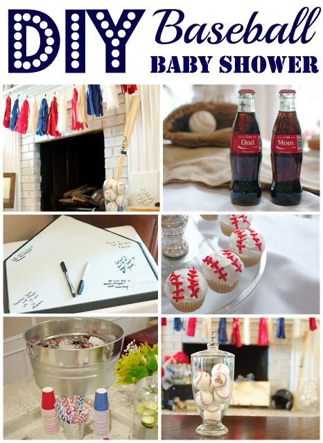 DIY Baseball themed baby shower for a sweet little boy and mom to be! Party includes authentic baseball decor, tassel banner, game day themed food, and DIY baseball cupcakes. Would make a great birthday party theme too!