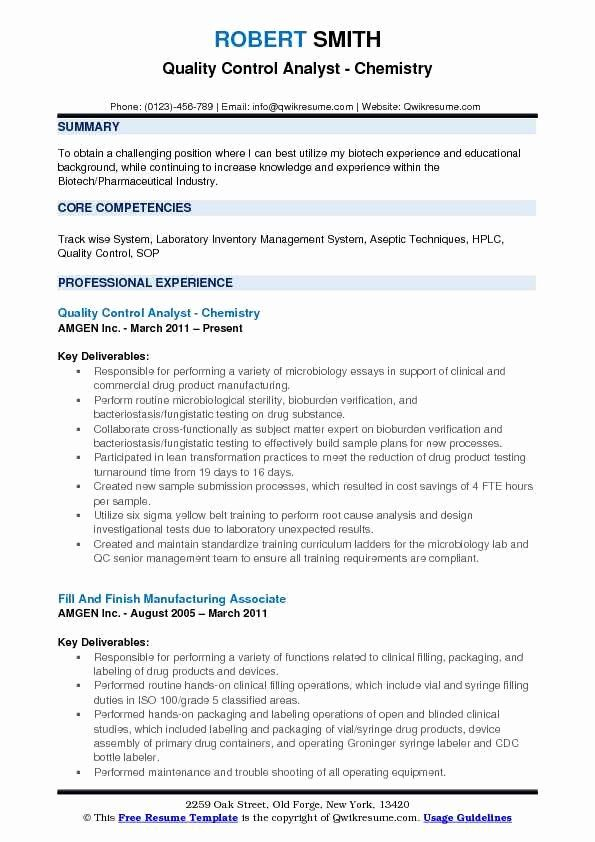 Entry Level Chemist Resume Unique Quality Control Analyst Resume Samples Project Manager Resume Business Analyst Good Resume Examples
