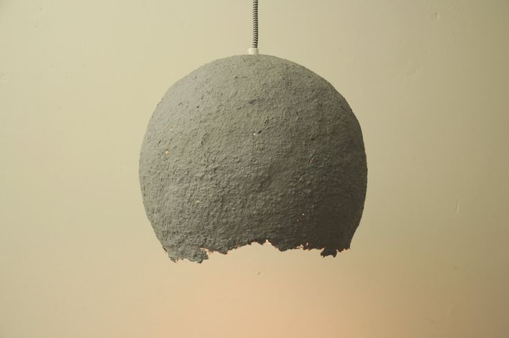 Paper mache hanging light - pendant lamp - Space Grey and Gold - paper mache hanging lamp -  paper pendant light - recycled lamp #RH-PP0014 by RoughHandsTheHague on Etsy