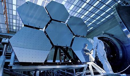 NASA photo; the James Webb Space Telescope's mirror segments are tested to gauge