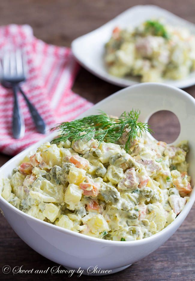 Ultimate comfort-food-salad from my childhood. This classic homemade Russian potato salad recipe is very forgiving and you can easily customize it to your on taste.