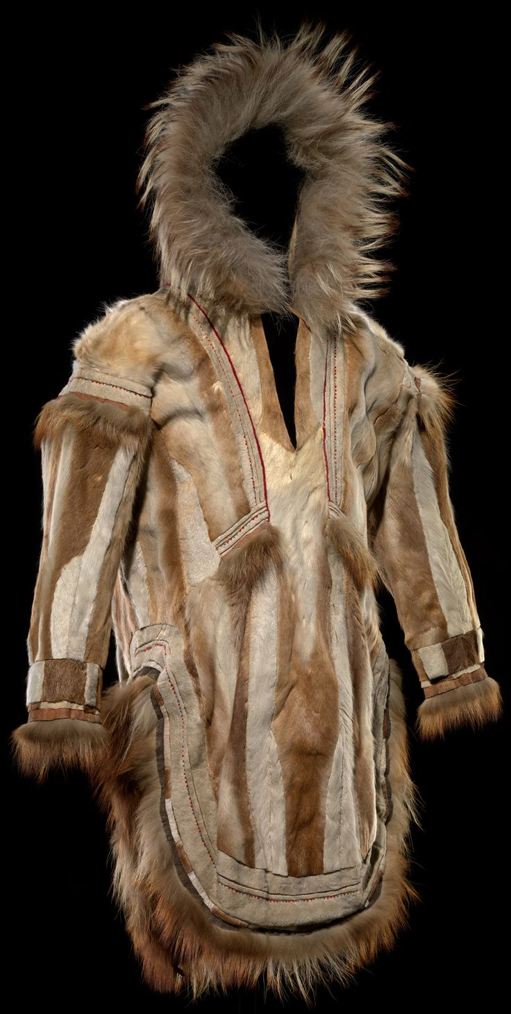 Iñupiaq man's parka  ca. 1900  Cape Nome, Alaska  Caribou, fox and wolf skins, wool, sinew  134 x 131 cm  Purchased from the Fred Harvey Company  6/3308