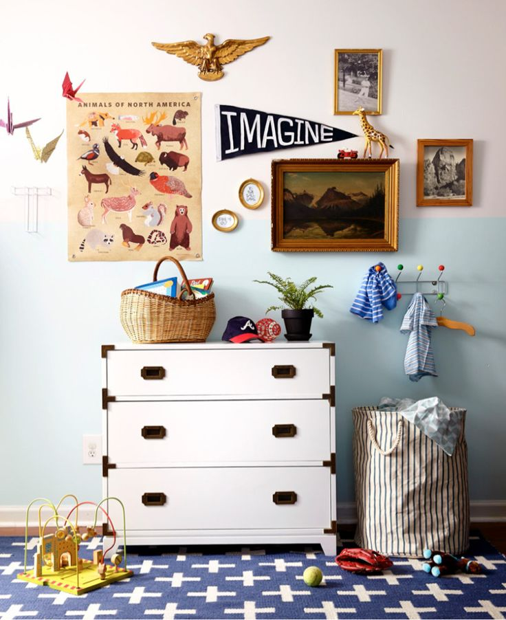 Eclectic, collected nursery design - featuring a fab campaign dresser from @landofnod