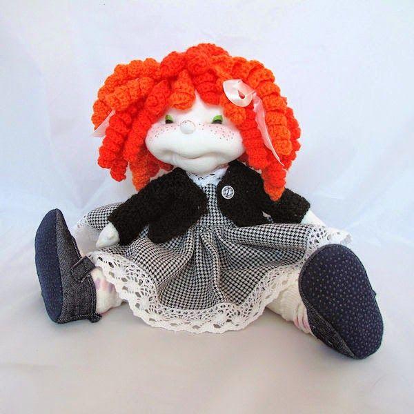 HANDMADOWO: Jeszcze raz rudowłosa Ania #handmade #doll #anioł #aniołek #angel #szyte #pszczoła #przebranie #lalka #ruda #rudas #loki #koronka #retro
