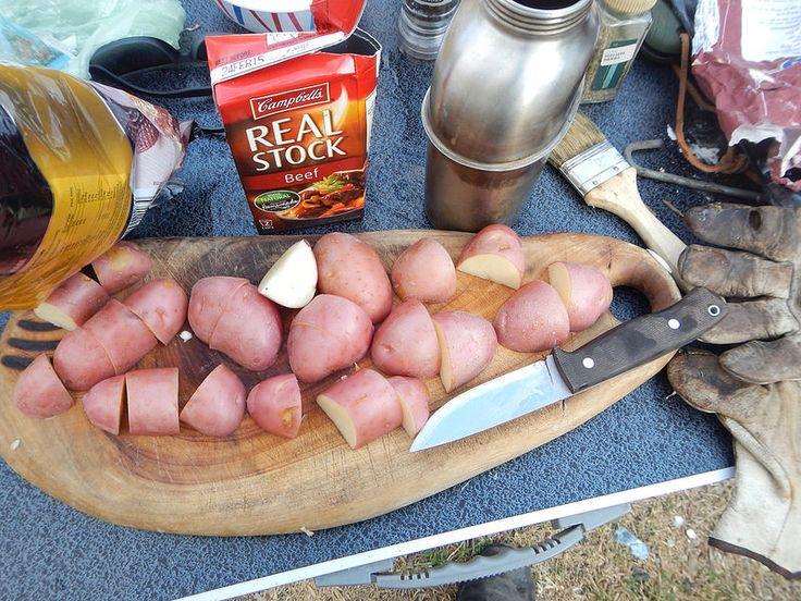 Bush stew prep with the F1