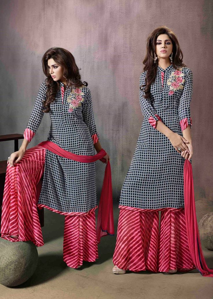 black-checkered-casual-wear-indian-palazzo-kamiz-suit-in-georgette