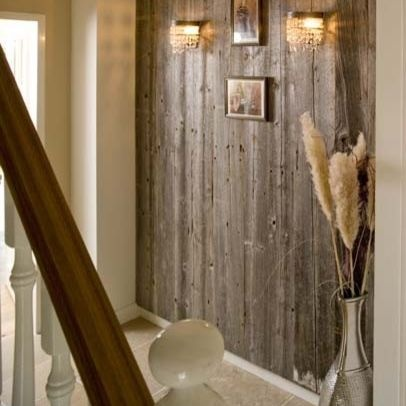Barnwood Design, Pictures, Remodel, Decor and Ideas - great idea for an accent wall.  Not overkill on the wood, but great for just one wall.