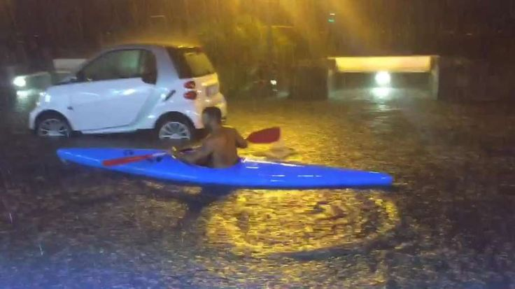 Footage of a man canoeing on the flooded streets of Ischia, Italy following a rain storm last weekend.