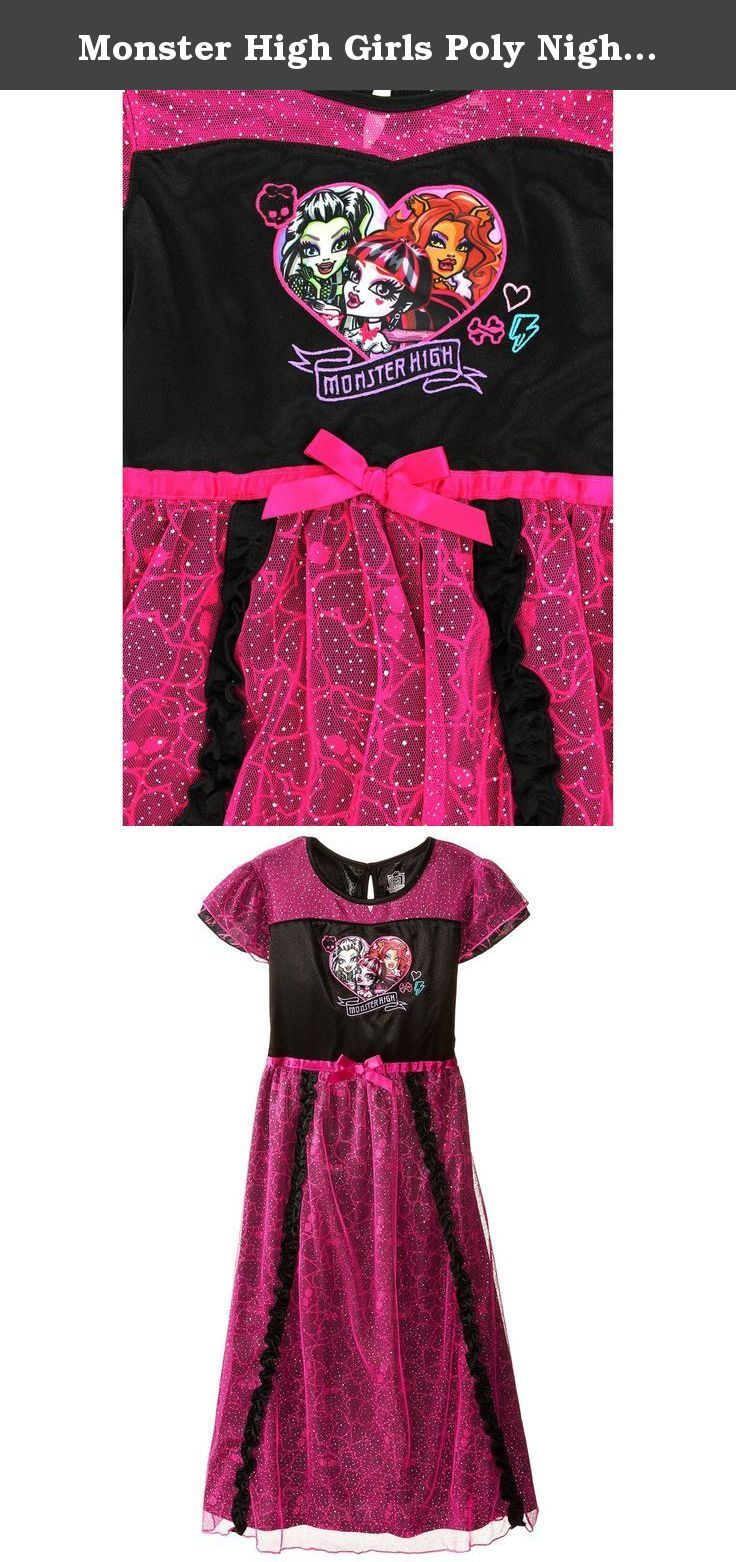 Monster High Girls Poly Nightgown Pajamas (M (7/8)). Show your style at Monster High wearing this cozy Mattel Monster High girls nightgown! Perfect for the bedtime, sleepovers or lounging around, these Monster High pajamas are a great choice! The pajama nightgown has short sleeves featuring graphics of the Monster High dolls; Draculaura, Clawdeen Wolf, and Frankie Stein in a costume style nighty. Any fan of the Monster High hit show, movies, books or dolls will adore this PJ nightgown…