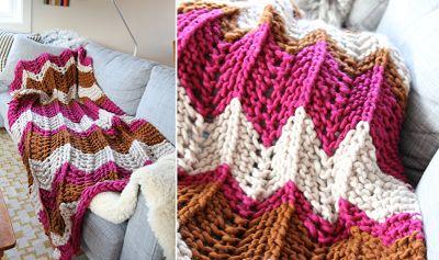 Vintage knitting free patterns, gratis breipatronen onder andere jaren 70 patronen: Deken / sprei breien heerlijk voor 's avonds op de...