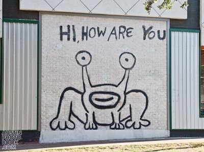 Artist and musician Daniel Johnston painted this legendary mural on the main drag on campus. You've seen it on Kurt Cobain's shirt, now go see it person.