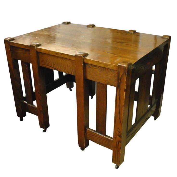 Antique Mission Oak Arts U0026 Crafts Library Table Desk Stickley Roycroft Era