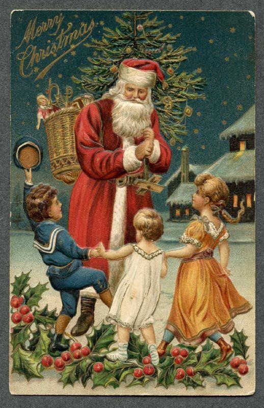 Vintage Christmas Card, Santa and children