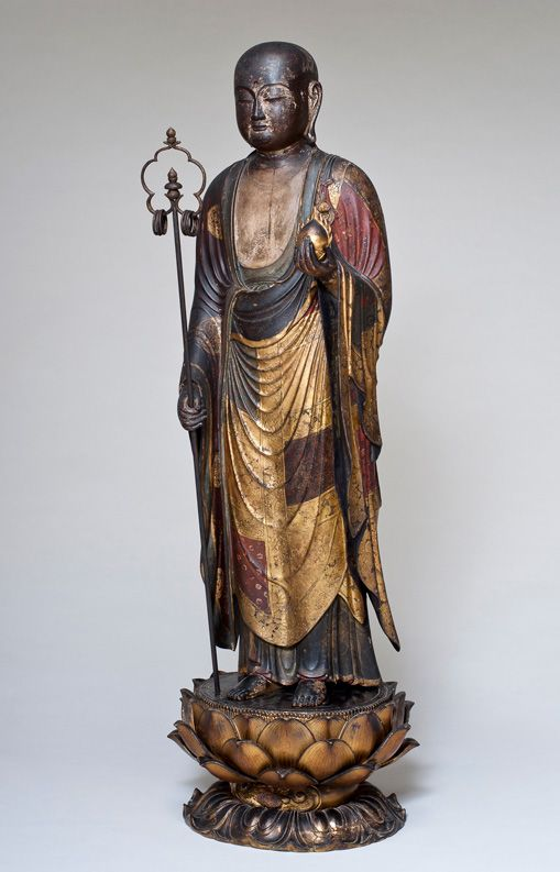 Jizō Japanese, Edo period, 17th century Lacquer, pigment, and gold on wood figure: h. 44 1/2 in. (113 cm); pedestal: h. 8 1/4 in. (21.0 cm); diam. 12 in. (30.5 cm) Gift of Lenora and Walter F. Brown, 2004.22.5