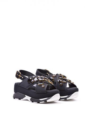 MARNI Marni Embellished Wedge Sandals. #marni #shoes #marni-embellished-wedge-sandals