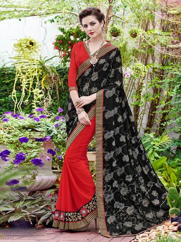 Ftrendy Black & Red Embroidered Georgette & Brasso Saree