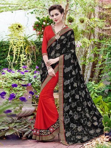 Ftrendy Black & Red Embroidered Georgette & Brasso Saree