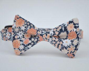 Noeud papillon corail Peach et marine Floral noeud papillon garçon
