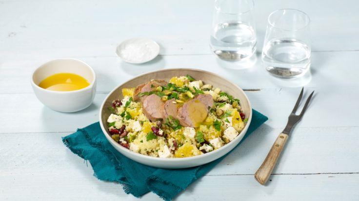 Oppskrift på Svinefilet med appelsinsaus og couscous-salat