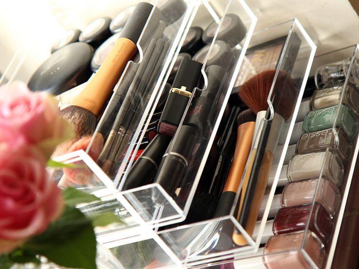 MUJI acrylic storage two draw and 2 draw flip lid.  Beauty storage