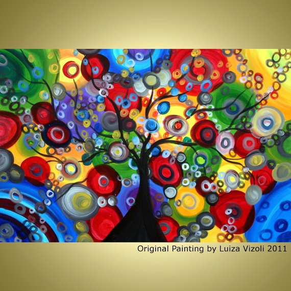 Original Abstract Fantasy Tree Landscape Colorful Circles Painting Christmas Lights by Luiza Vizoli