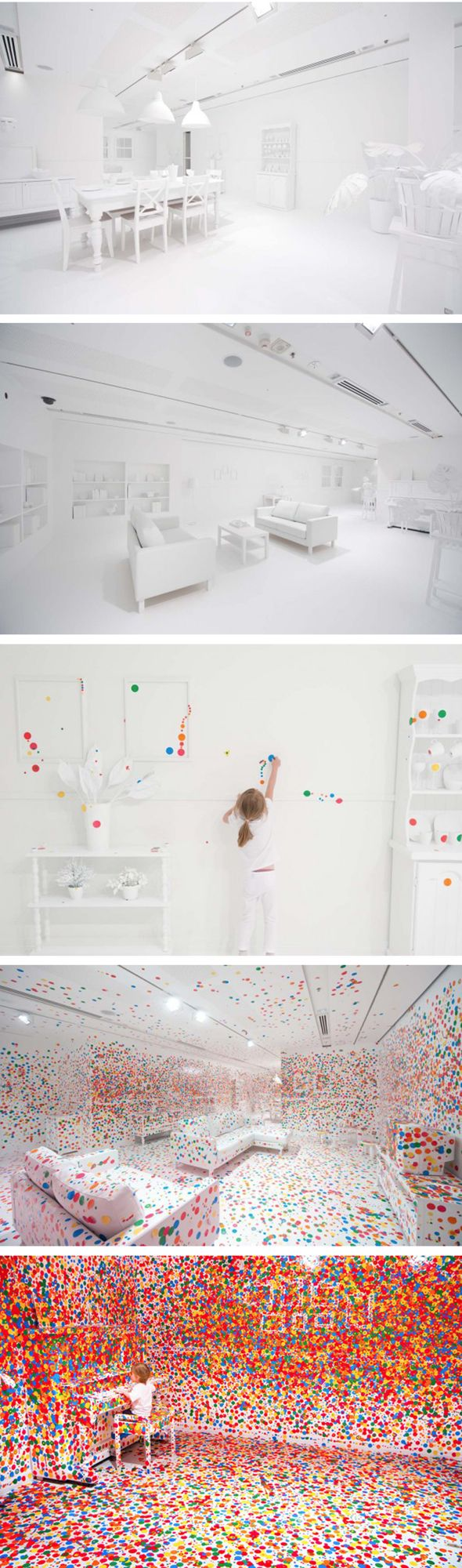 "What happens when you give thousands of kids thousands of colored dots in an all white room? The Obliteration Room-Interactive Art Exhibit // Queensland gallery of Modern Art // ""Obliteration Room"" by Yayoi Kusama #installation #art"