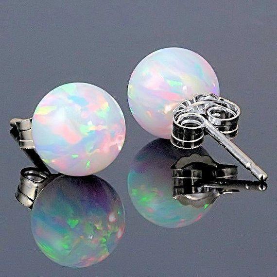 Australian Fiery White Opal Earrings - beautiful