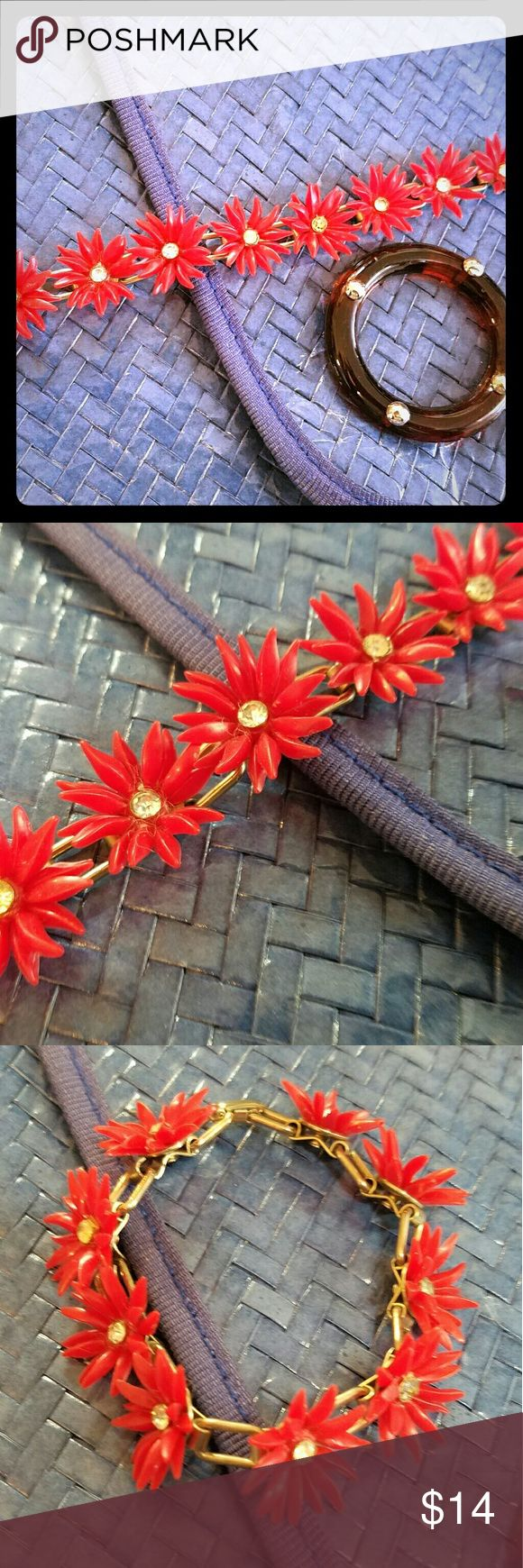 1960's Red Daisy Chain Bracelet So cute!  Daisy Chain Bracelet Circa 1960 Perfect Vintage Condition Vintage Jewelry Bracelets
