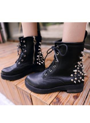 Black Boots with spikes on the back