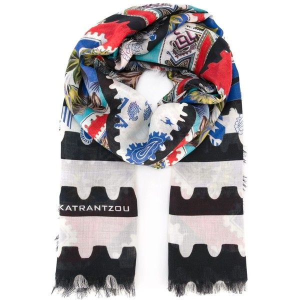 Mary Katrantzou Botanist Scarf (1.279.775 COP) ❤ liked on Polyvore featuring accessories, scarves, blue, colorful shawl, blue shawl, colorful scarves, mary katrantzou scarves and multi colored scarves