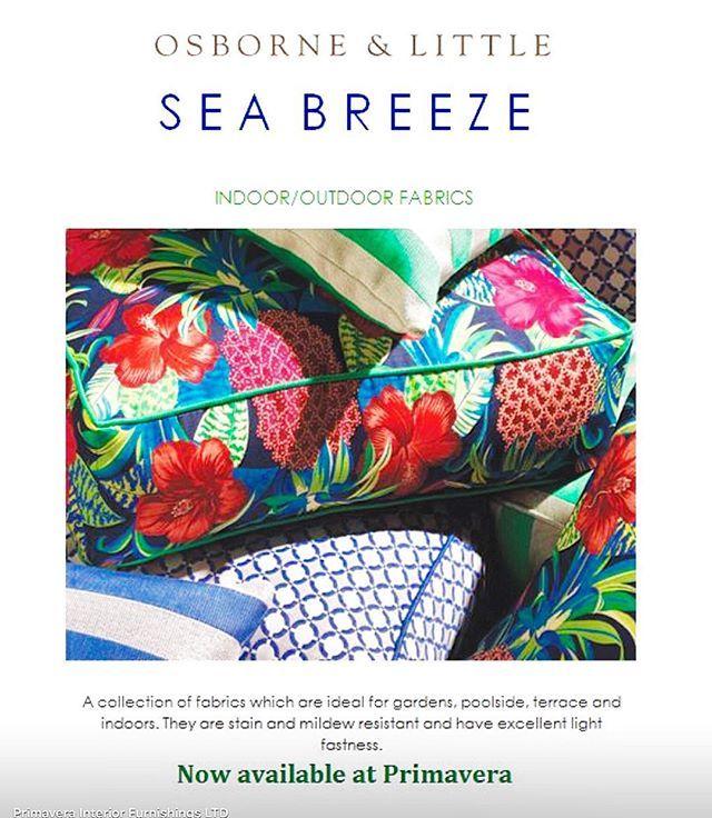 #sea #breeze #osbourne and #little  now #available at #primavera #interiordesign #showroom #toronto #on #canada #designer #walk #160 #pears #avenue #fabric #fashion #outdoors #indoor