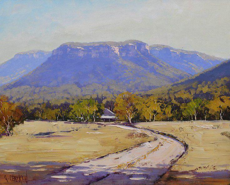 Mountain Cliffs Valley Farm Rural Landscape Landscape Oil Paintings Mountain Landscape Impressionist Landscape