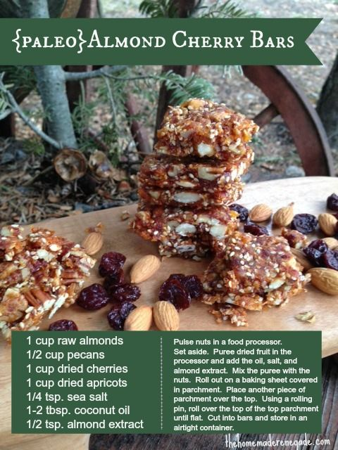 Paleo} Almond Cherry Nut Bars #thehomemaderenegade #on-the-go #snacks ...