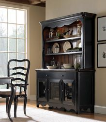 Hooker Furniture 5063 75902 Calais Worn Black Nutmeg Sideboard And Open Lit Hutch Dining RoomsDining