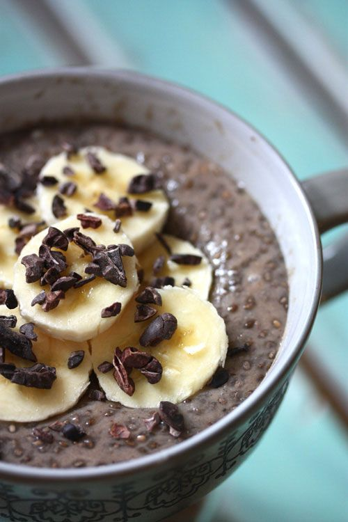 For Pudding: 1 Ripe medium banana 1 tbsp raw organic cacao or cocoa powder, unsweetened (optional) 4 tbsp chia seeds (white or black) 1 1/2 cups vanilla almond milk, unsweetened Garnish optional: Sliced bananas cacao nibs Directions Blend ingredients Refrigerate overnight in glass container Serve with optional garnish