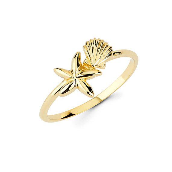 14k Starfish ring, Starfish ring, Gold Starfish, Gold Sea shell, Dainty Jewelry, Nautical Jewelry, Starfish, knuckle ring