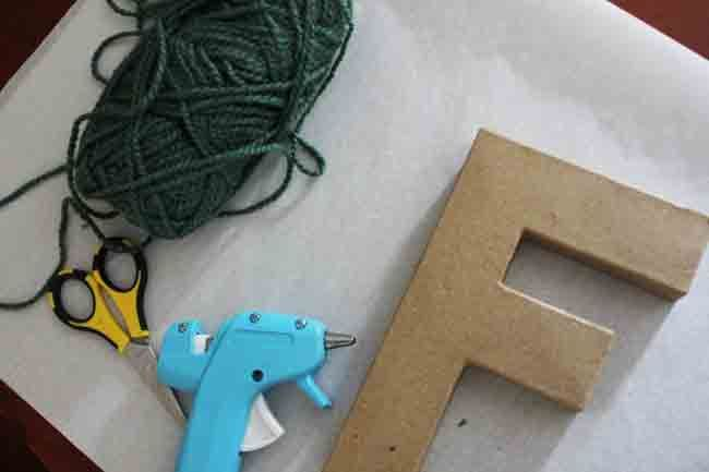 Yarn covered letter DIY
