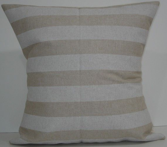 New 18x18 inch Designer Handmade Pillow Cases in white stripe on natural color fabric $20.00