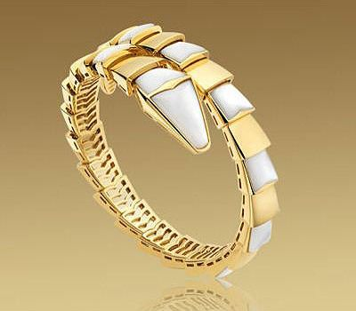 bvlgari serpenti bracelet in yellow gold with mother of pearl accents