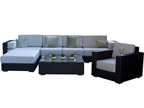 Siena Black Rattan Contemporary Outdoor Garden Furniture Sofa Set with Stone Grey Cushions - Fully Assembled, Conservatory Patio Set 20cm Deep Cushions