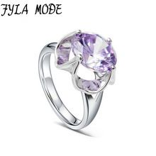 Fyla Mode Women Fashion Purple Stone Ring 5A Zircon Jewelry Gold Color Finger Rings Female Brand Wedding Engagement Jewelry //Price: $US $5.09 & FREE Shipping //     #hashtag4