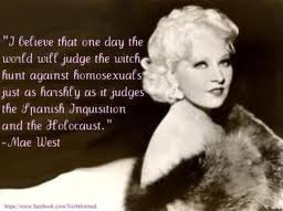 """Mae had a lot of gay male friends & wrote 2 Broadway plays in the 20's: """"The Drag"""" that featured an act with real drag queens in a staged wild party & """"Pleasure Man."""" With coded language in her films, Parker Tyler (a pioneer of cinema's sexual subtexts) called her """"the Mother Superior of the Faggots"""". When the Production Code banned """"sex perversion"""" they meant no gay characters, no gay subtext.  #burlesque #film #history #MaeWest Check out our #NeoBurlesque #documentary…"""