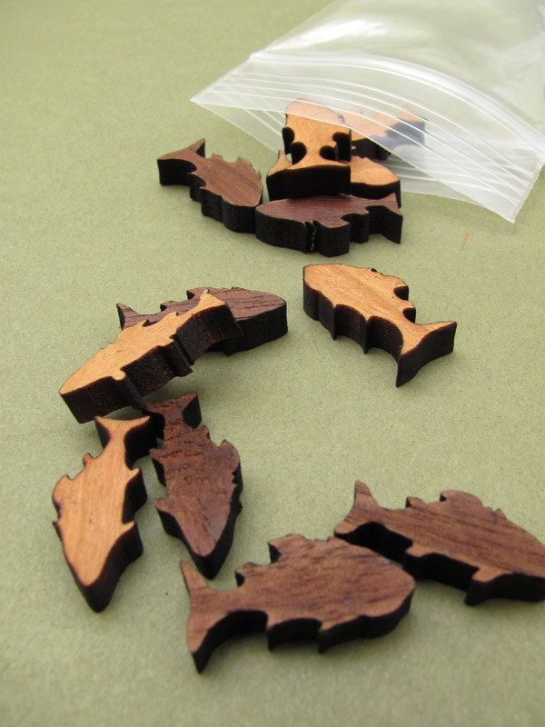 Itsies - Fish Charms - Laser Cut Mini Wood Fish   Timber Green Woods Sustainable Forestry Products