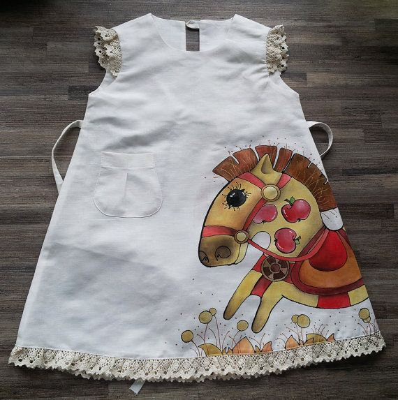 Girl dress - painted dress- white dress - size by height 104 cm - children summer clothing - my little pony - rustic  linen girl dress