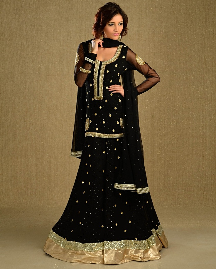 Sequined Black Lengha Set with Gota Work