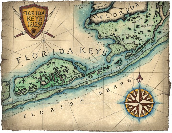 Florida Keys Map With Mile Markers.Florida Keys Reef Map Art C 1829 12 X 16 Key West Map Key West