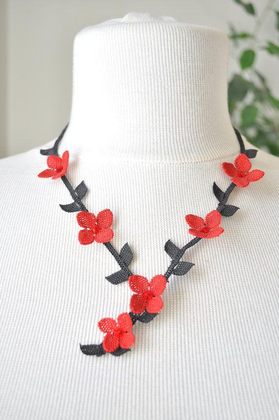 OYA Silk Needle Lace Necklace Hand made Turkish lace by OYASHOP, $39.00