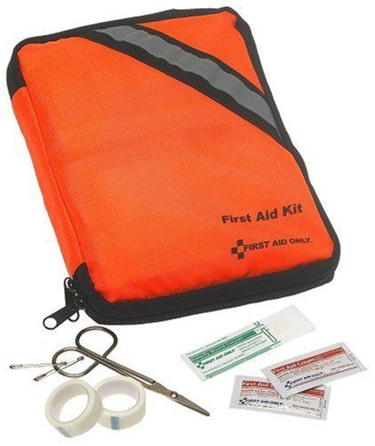 First Aid Only Outdoor First Aid Kit, Soft Case, 205-Piece Kit by First Aid Only. $21.75. Perfect for hiking, camping, marine adventures, home and auto. This 205pc. outdoor softsided kit, which features all the essential first aid items for minor aches and injuries. Supplies are easy to find in the clear-pocket pages. Kit includes: first aid guide, accident report form, vinyl gloves, sunblock, lip ointment, blister prevention, insect sting relief pads, assorted bandages and g...