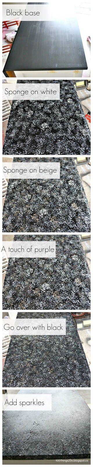 Creating Faux Granite.  Faux granite tutorial.  Refinishing counters to look like granite.